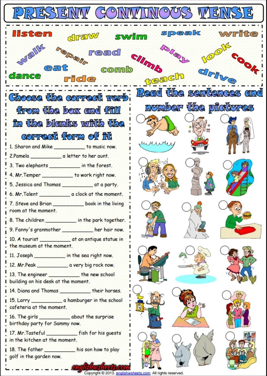 Present Progressive Tense Esl Grammar Worksheet Com