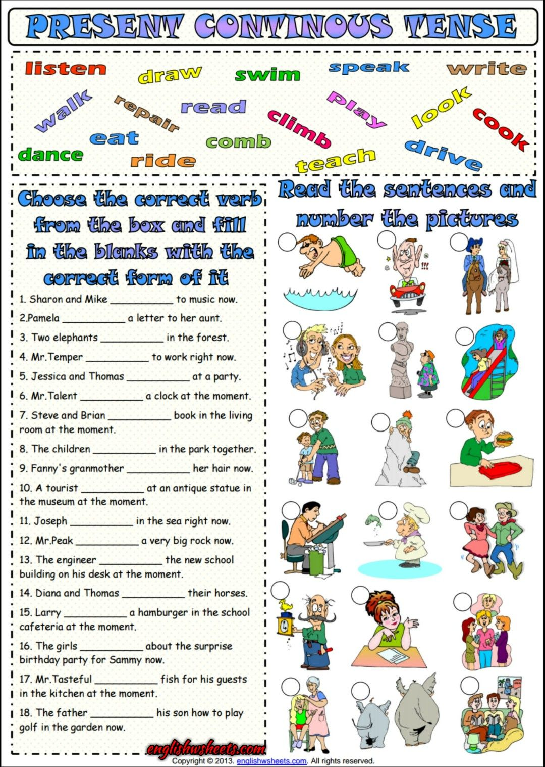 Present Progressive Tense Esl Grammar Worksheet