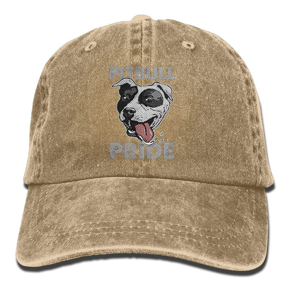 d8b5fdcd1430f Pitbull Pride Vintage Washed Dyed Cotton And Denim Hats Adjustable Baseball  Caps Natural. Size