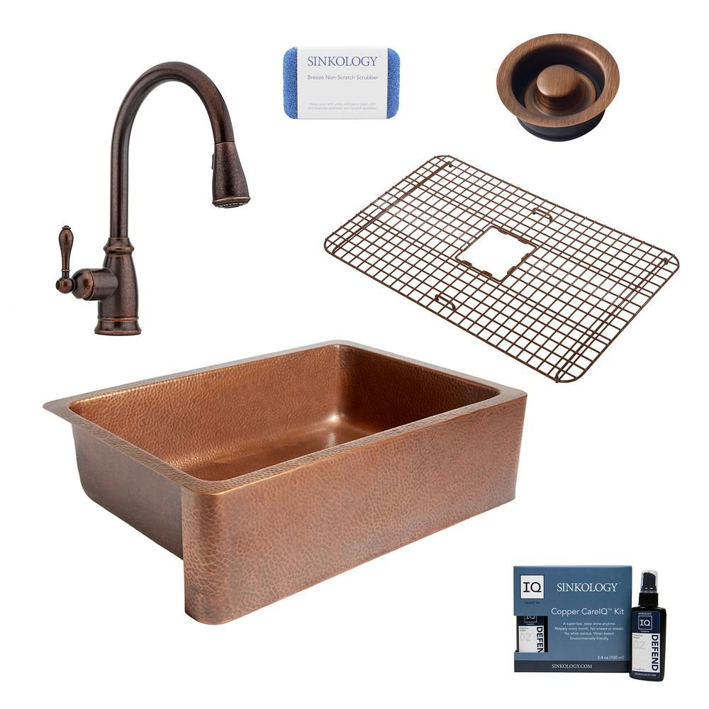 Sinkology Adams All In One Farmhouse Copper 33 In Single Bowl Kitchen Sink With Pfister Rustic Bronze Faucet And Disposal Drain Antique Copper Single Bowl Kitchen Sink Copper Farmhouse Sinks Double Bowl Kitchen