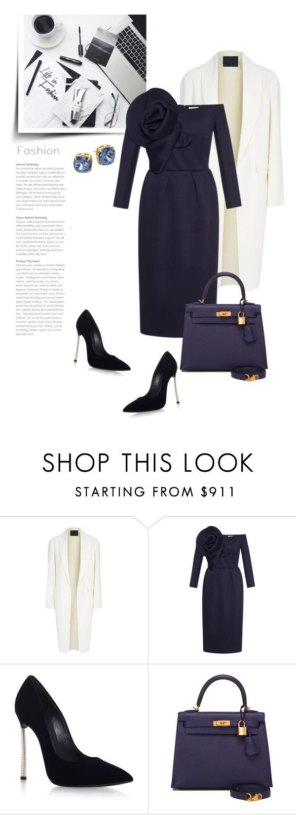 """""""Work In Style"""" by bliznec ❤ liked on Polyvore featuring Alexander Wang, Delpozo, Casadei, Hermès and Tory Burch"""