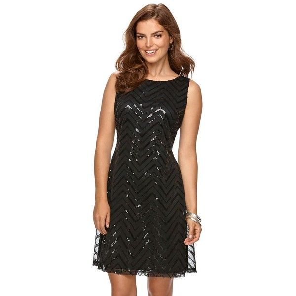 9ec64036fcb Women s Chaps Sequin Lace Shift Dress ( 83) ❤ liked on Polyvore featuring  dresses