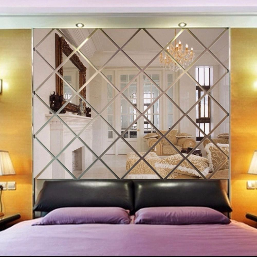 3d Diamond Shaped Mirror Wallpaper Paste Wall Acrylic