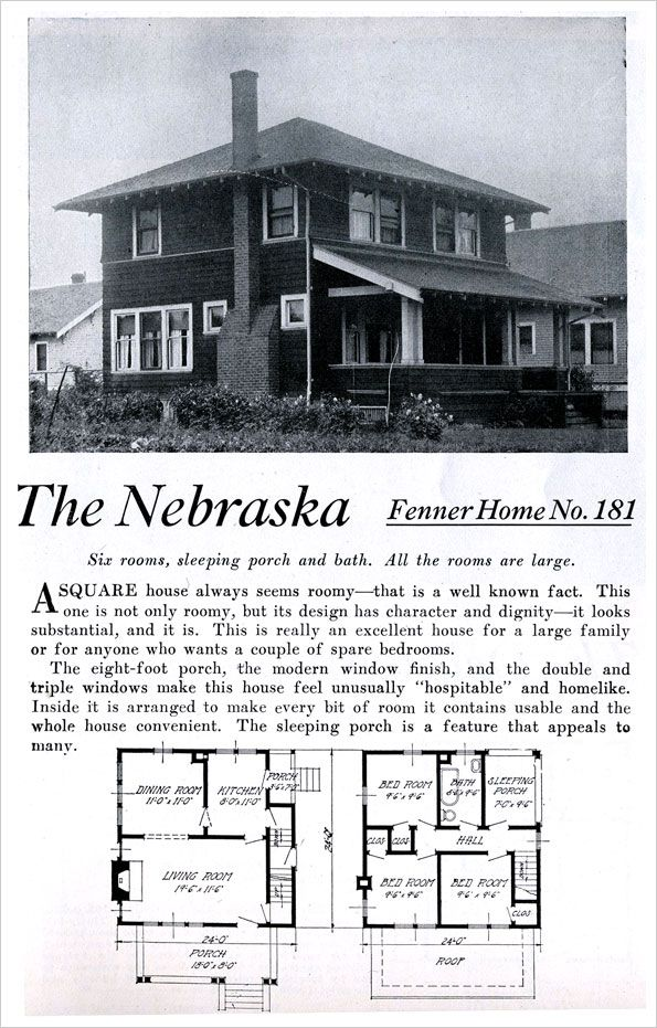 Nebraska Kit Home Ready Built Homes Portland Foursquare Colonial Pyramidal Roof Vintage House Plans Narrow Lot House Plans Pyramid Roof