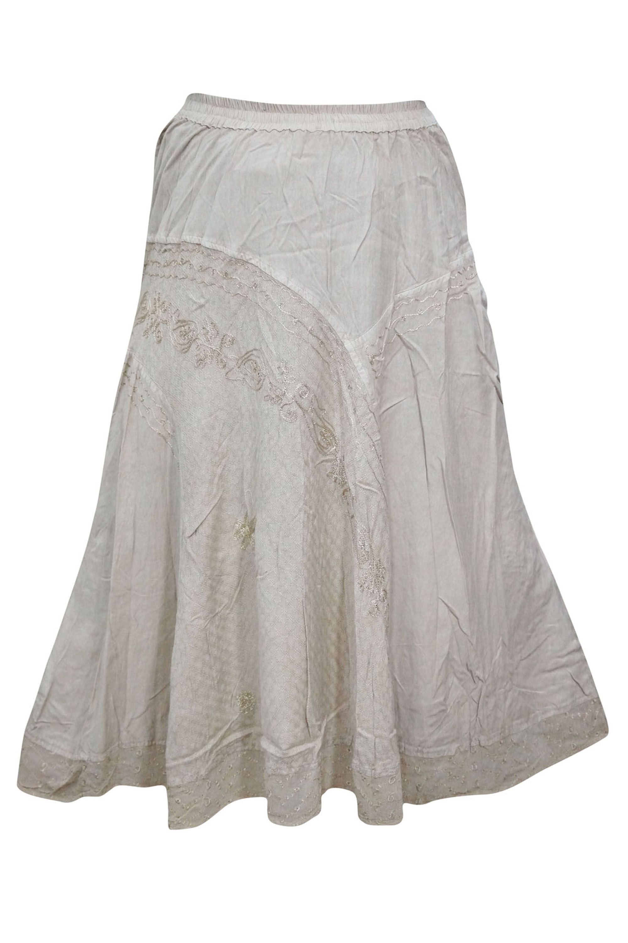 c6891047d Mogul Womens Long Skirt Beige Embroidered Rayon Gypsy Hippie Chic Boho  A-Line Long Skirts S/M#Skirt, #Beige, #Embroidered
