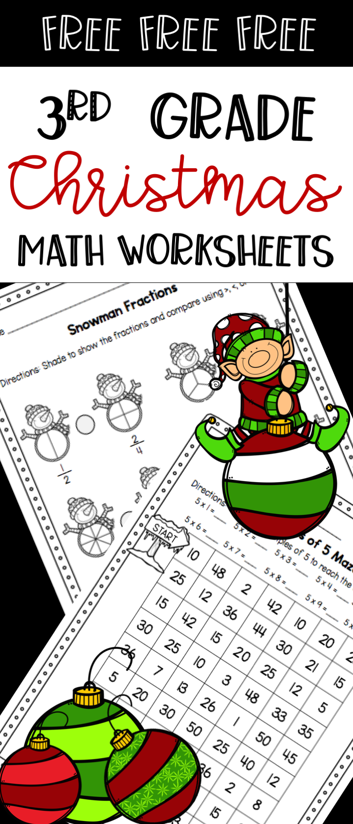 Free 3rd grade Christmas math worksheets - comparing fractions and  multiplication products of 5 - fun rev…   Christmas math worksheets [ 1675 x 718 Pixel ]