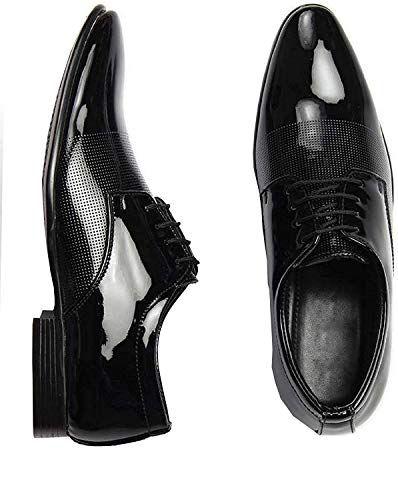 27981846b7b DEEKADA with device dk Men s Leather printed Black Formal Shoes - 8 ...
