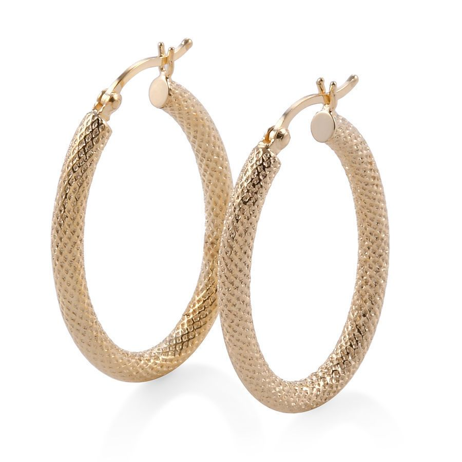 9k Yellow Gold Diamond Cut Hoop Earrings Ebay Link