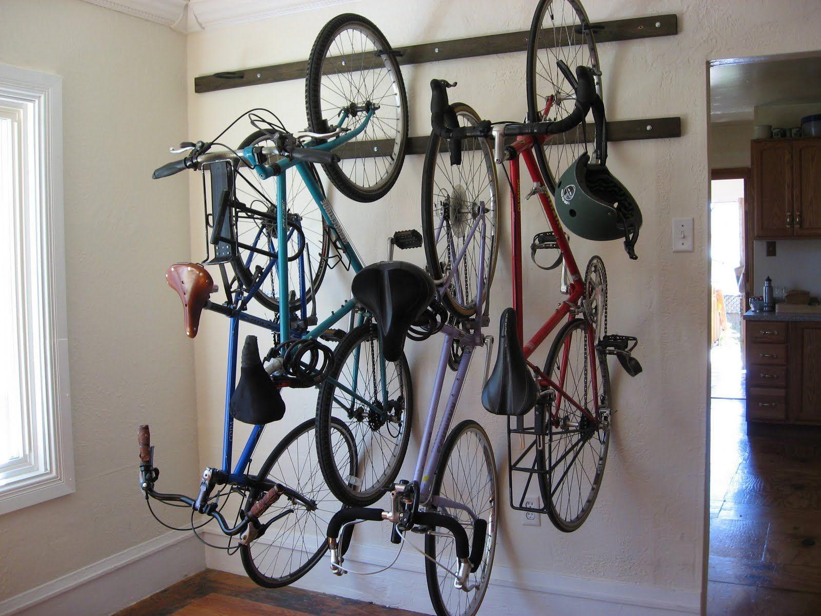 Post 100 My Brand New Homemade Wall Hanging Bike Rack Diy Bike Rack Hanging Bike Rack Bike Storage Diy