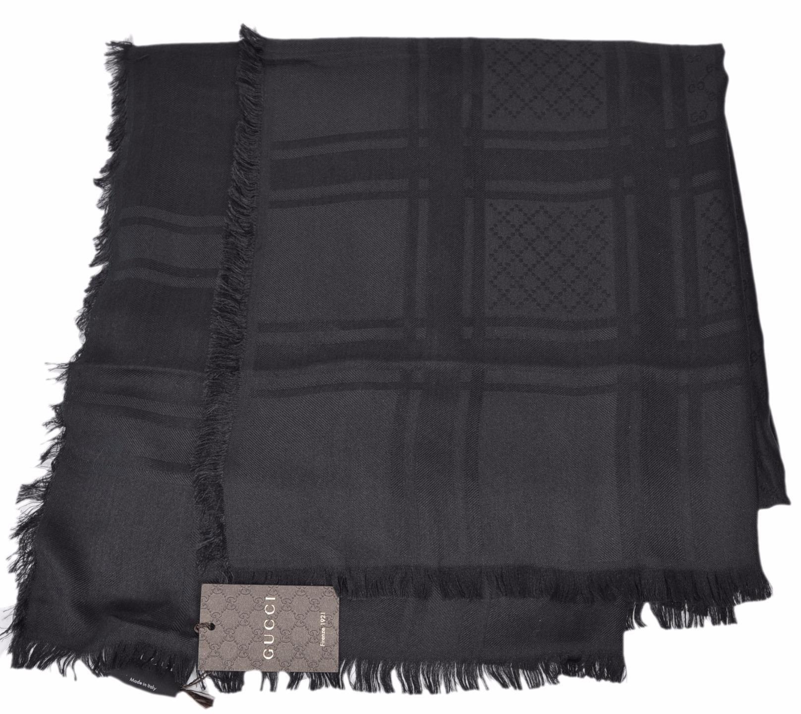 ff82e32609b8c NEW Gucci BLACK Diamante GG Guccissima Large Square Scarf 55