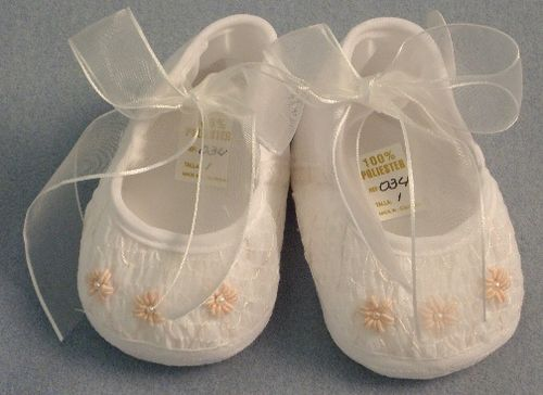 $18 Sweet smocked crib shoes. I just love the trio of embroidered flowers with pearl centers!