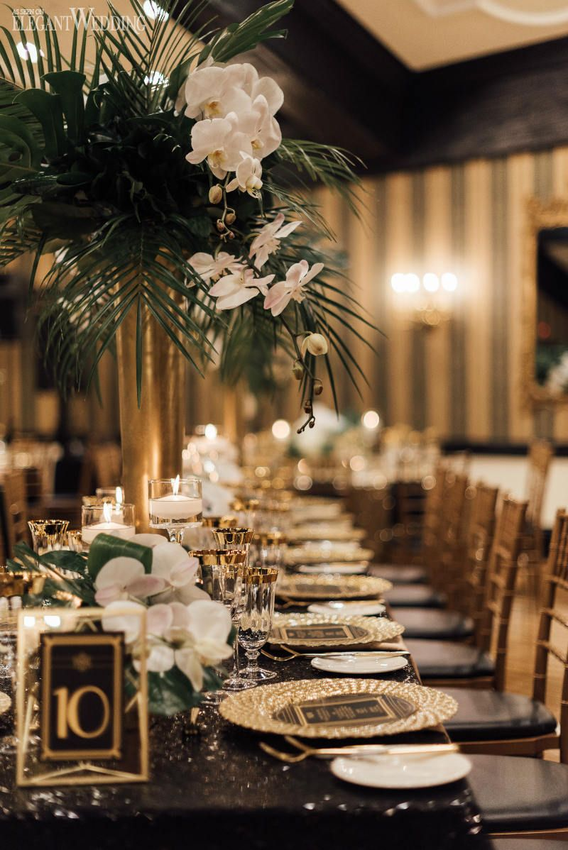 An Old Hollywood Meets Great Gatsby Wedding Wedding Table Themes