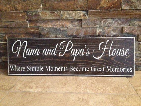 Nana And Papa S House Wooden Wood Sign Grandparents Nana And Papa