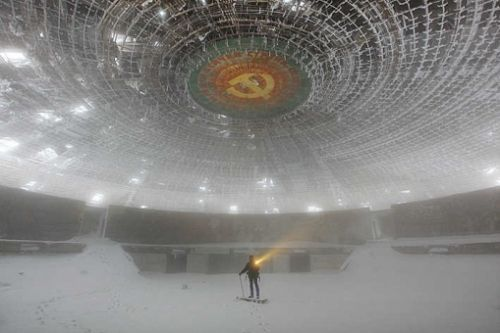 Photograher Timothy Allen documents The Buzludzha Monument. The monumentwas constructed in 1981 to commemorate the founding of the Bulgarian Socialist movement. It doesn't just commemorate, it boasts the then powerful communist state. Also, it apparently contains a time capsule with a message to future generations. Since the revolution of 1989 and the fall of the communist party, it sits abandoned and empty.