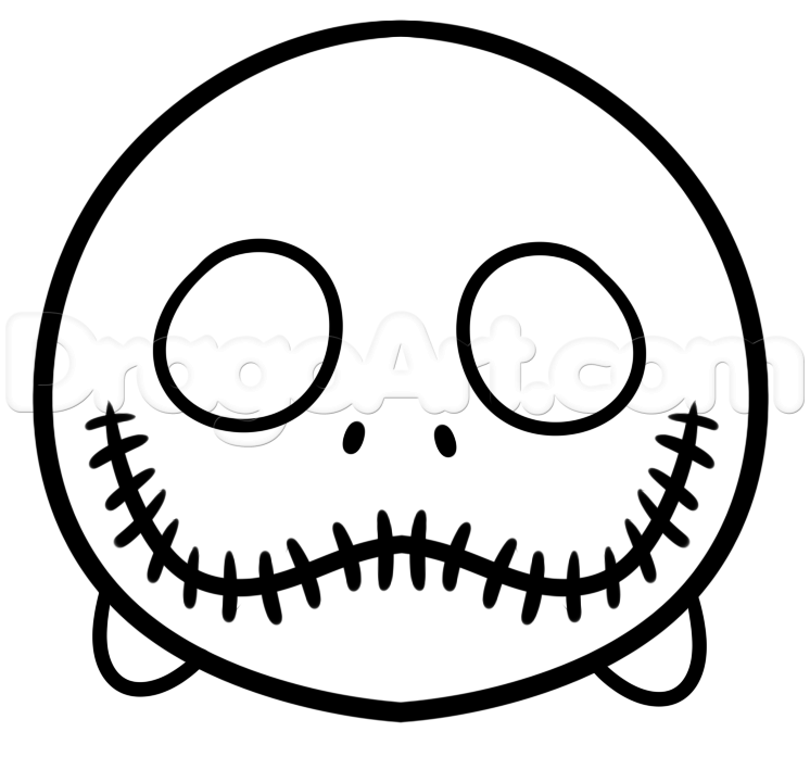 how to draw tsum jack skellington step 4 | coloring pages ...