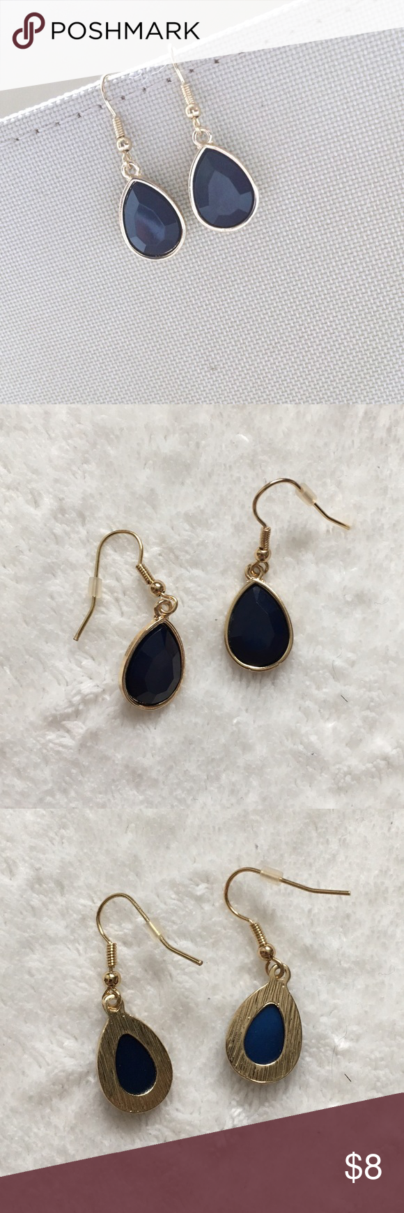 3 For $20 💗 Teardrop Earrings Old Navy Faux Gold And Navy Blue Teardrop  Dangle Earrings
