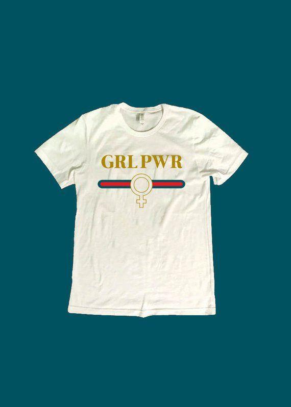 a42559919 Girl Power Tshirt - Grl Pwr Tee- Feminist 90's Logo Graphic T-Shirt -  Unisex White Tee