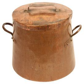 """Steeped in Old World culinary traditions, this vintage copper pot was crafted in Belgium and features a well-fitting lid.  Product: Pot and lidConstruction Material: CopperColor: CopperDimensions: 12"""" H x 13"""" DiameterNote: Due to the vintage nature of this product, some wear and tear is to be expected. Products may show signs of brand marks, scrapes or other blemishes. Cleaning and Care: Wipe with damp cloth"""
