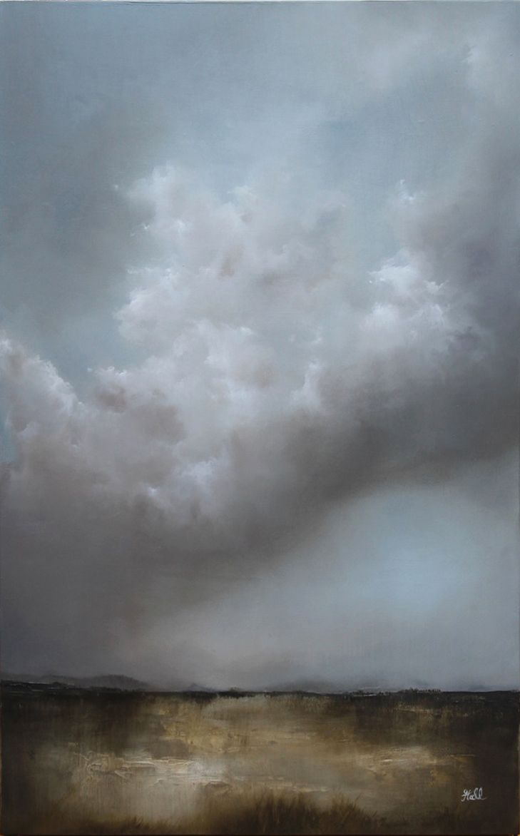 Feel The Rain Oil Landscape Painting By Adamhallart Com Maybe Blue Underpainting Landscape Art Sky Painting Landscape Paintings