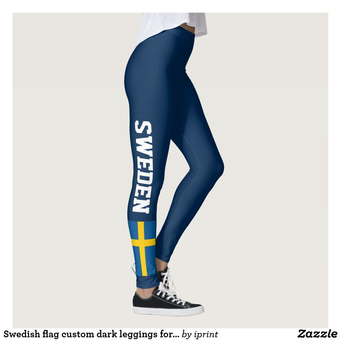 e820249815e4c Swedish flag dark blue leggings. Sweden pride patriotic design. Trendy  clothing for women and teen girls. Personalizable tights with custom color  background ...