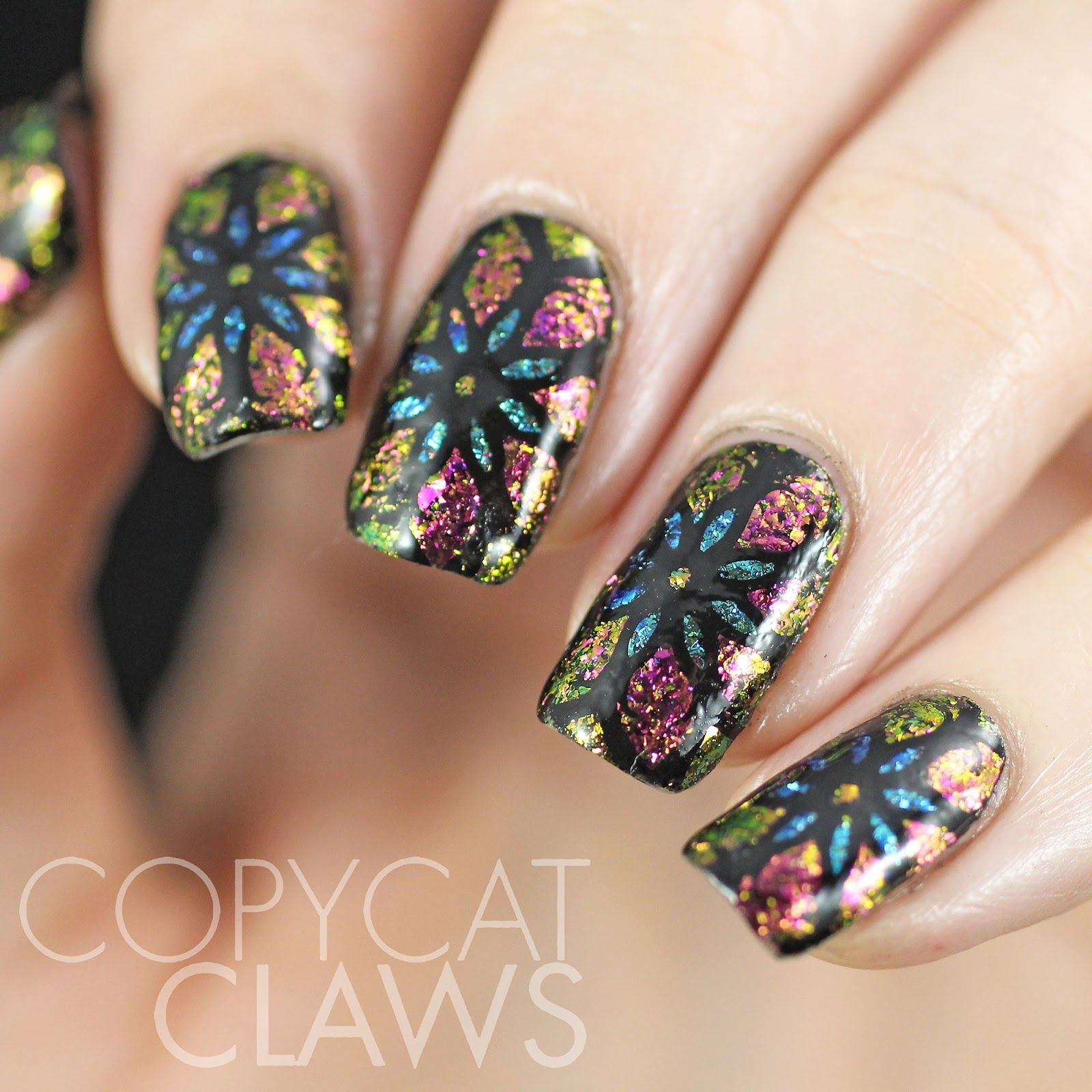 Copycat Claws: Stained Glass Flowers with ILNP Flakies