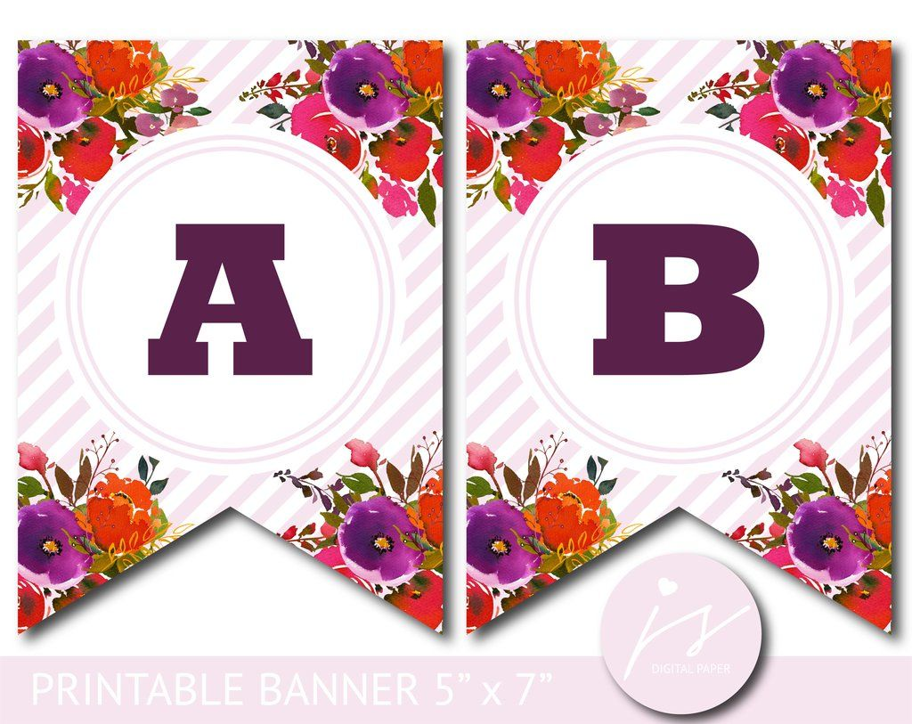 purple and orange watercolour banner with stripes baby shower