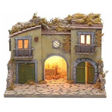 Burgo Belen Con Comedero 40x50x40 Model Train Table Nativity Scene Sets Cardboard House