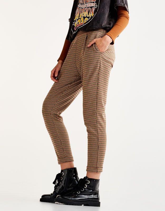 pantalon style tailoring imprim pied de poule pantalons. Black Bedroom Furniture Sets. Home Design Ideas