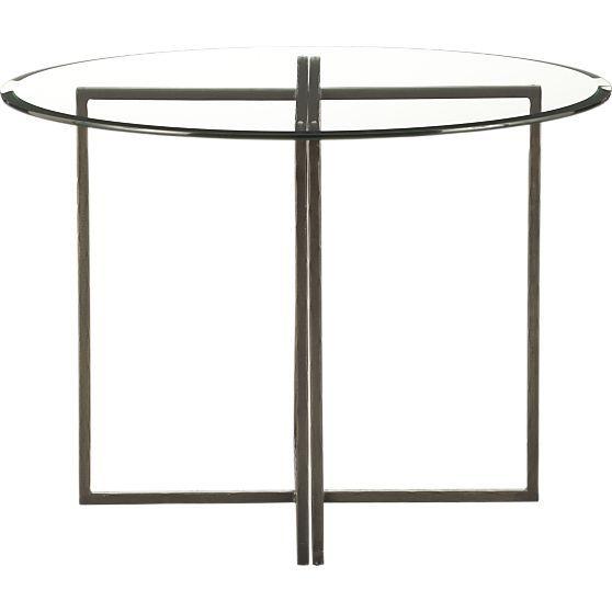 Everitt 42 Round Glass Top Dining Table in Outdoor Tables | Crate and Barrel Visit www.kuraarasbasin.net #glasstopdiningtable #diniingroomtables