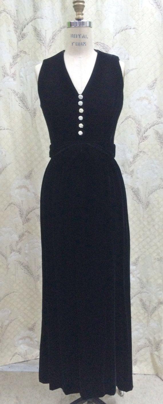Vintage 1980s Lord And Taylor Black Maxi Dressblack Velvet Gown