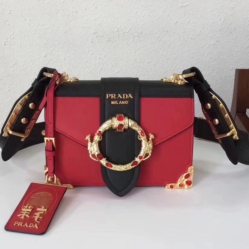 8afa48956846 Prada Cahier Leather Bag RongZhai Limited Edtion 1BD103 Red Spring 2018