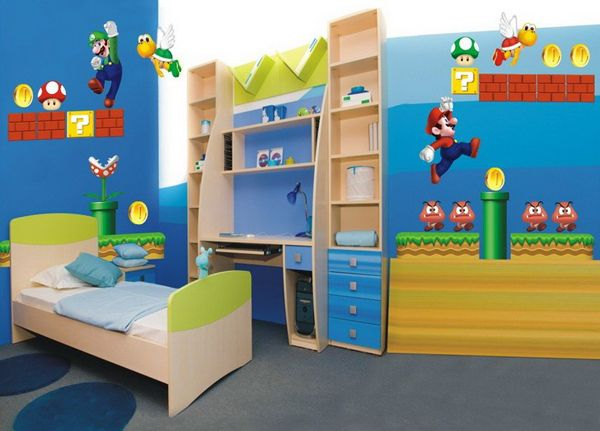 Cute Wall Sticker For Kids Bedroom Decoration Idea Fetching Kids Bedroom  Design With Super Mario Wall Stickers And Modern Bedroom Furniture . Part 37