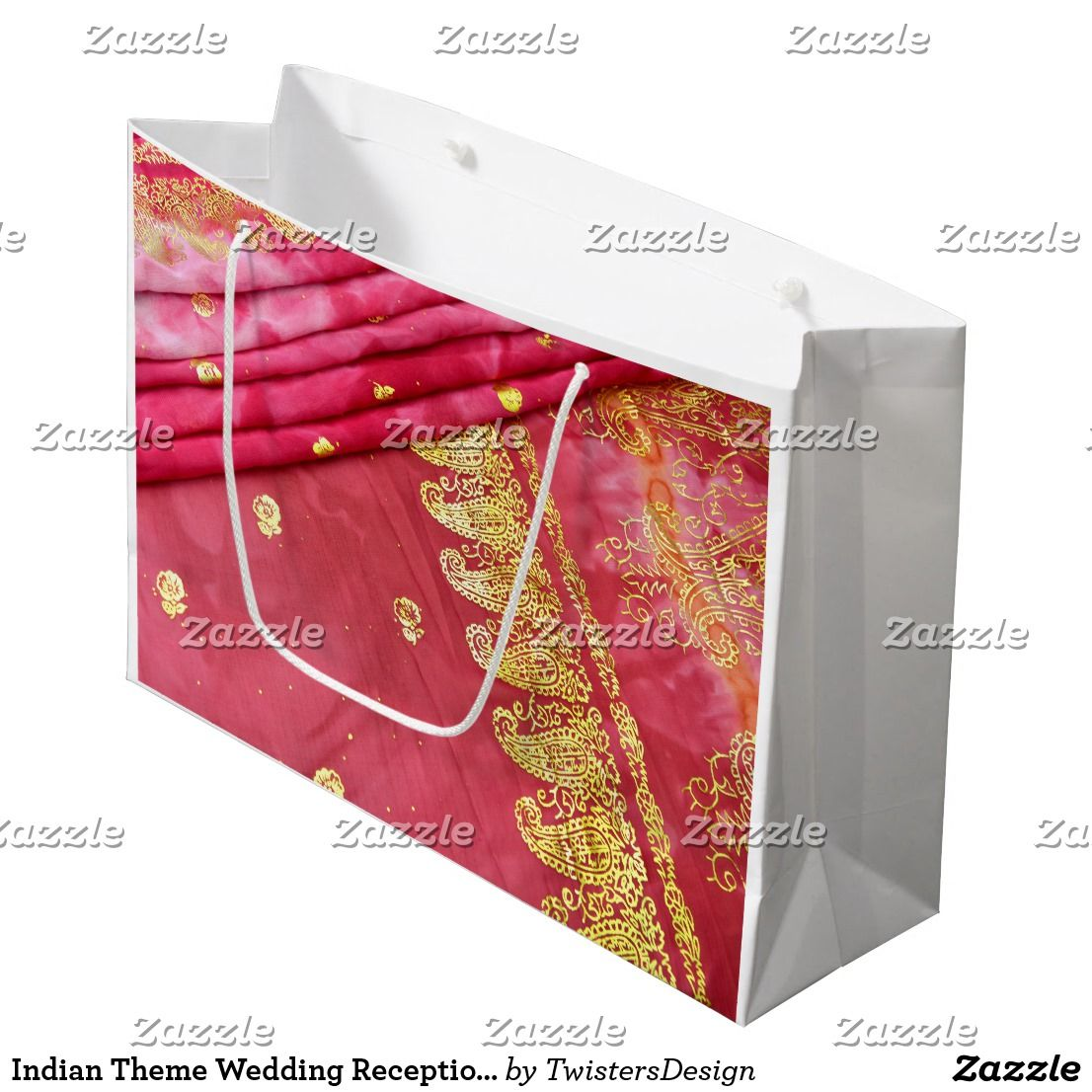 Indian Theme Wedding Reception Pink Gold Sari Large Gift Bag