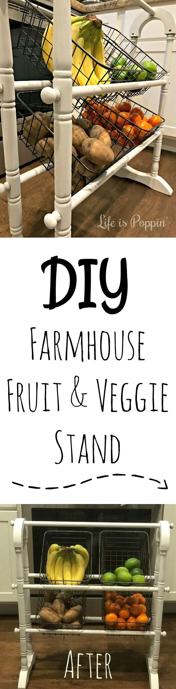 Unless you've been living under a rock, then I'm sure you are aware that farmhouse decor is all the rage. This fruit and veggie stand is what your kitchen has been missing.   #Farmhouse #DIY #Upcycle
