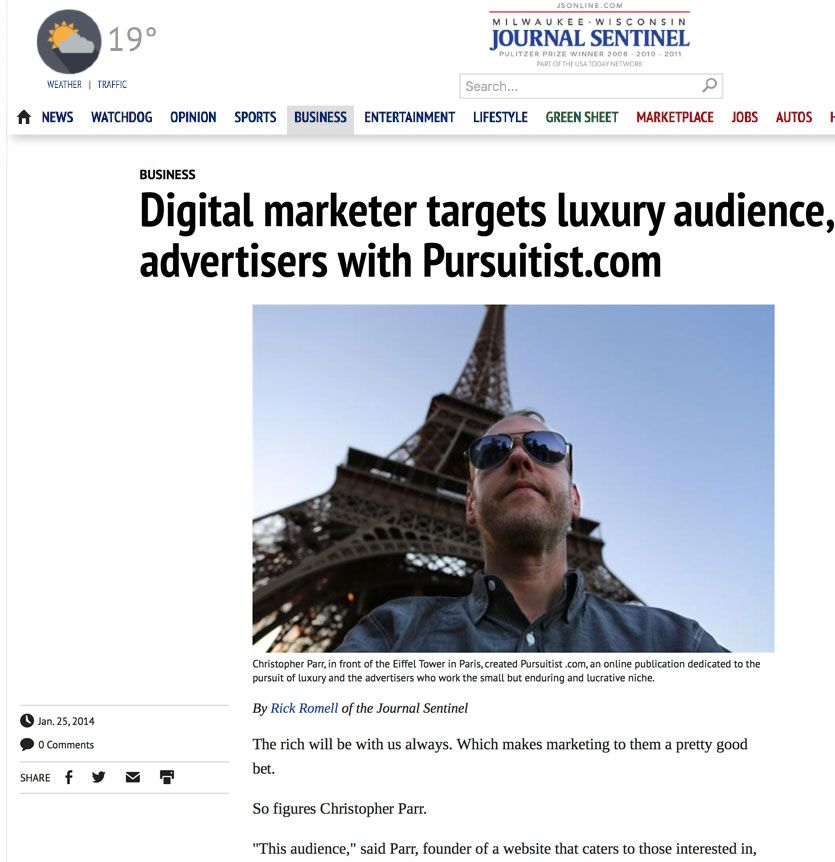 Christopher Parr Of Madison Wisconsin Featured In The Milwaukee Journal Web Design News Web Design Madison