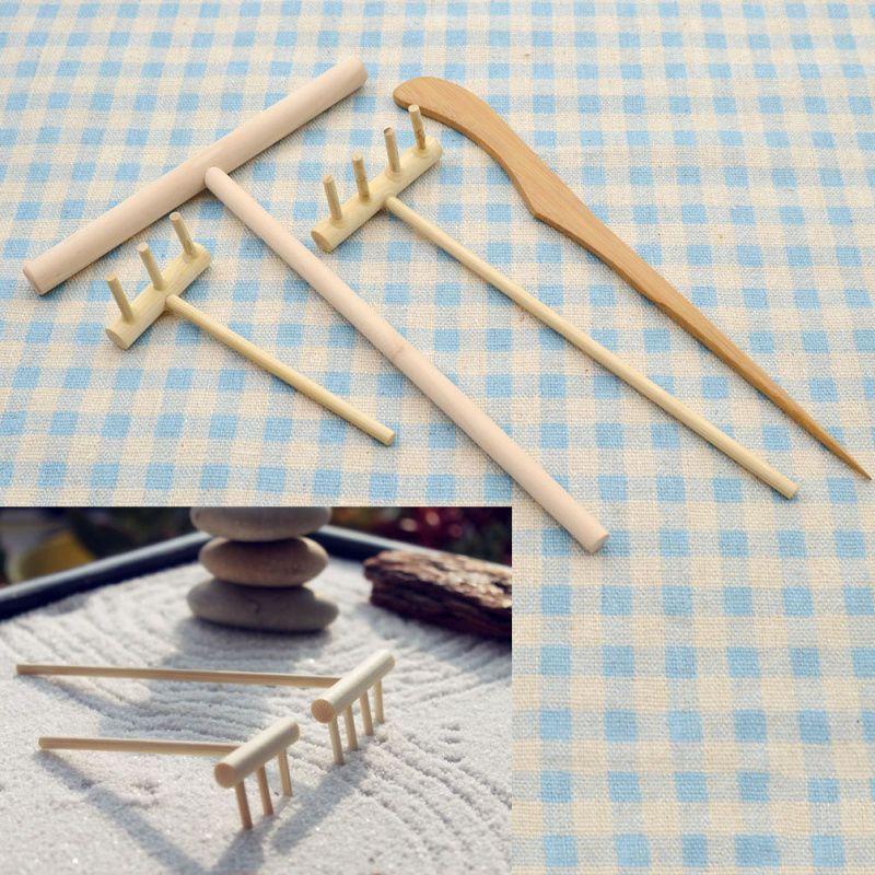 Zen Garden Rakes Sand Rocks Candle Holder Kit Bamboo Tool Feng Shui Home  Decor