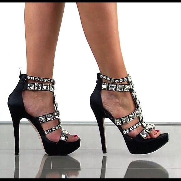 Gorgeous Black Satin Heels Stones Are Gold Color Nwt Black
