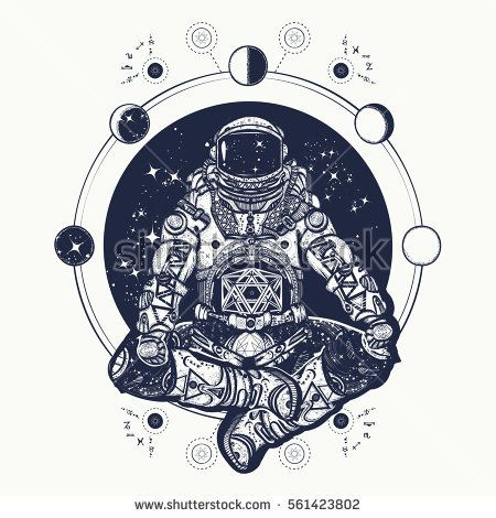 Astronaut In The Lotus Position Tattoo Art Symbol Of Meditation Harmony Yoga And Universe T Shirt Design Spaceman Silhouette Sitting