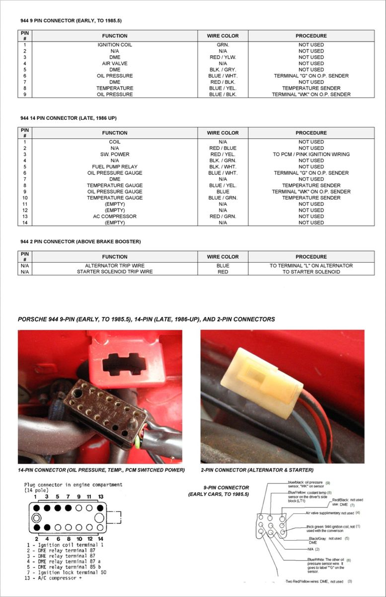 Porsche 944 Under Hood Harness Connector 9 Or 14 Pin In 2020