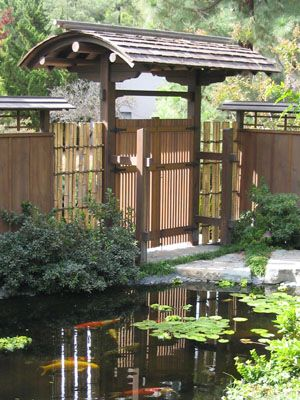 Japanese Garden Gate And Koi Pond. Designed And Installed By