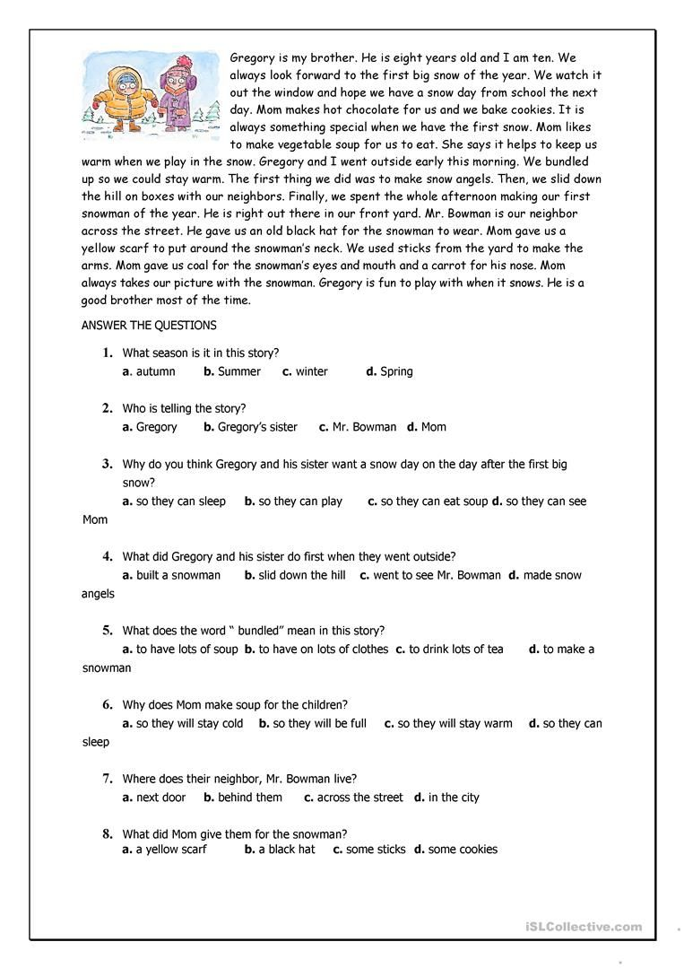 Reading Comprehension For Beginner And Elementary Students Reading Comprehension Worksheets Comprehension Worksheets Reading Comprehension [ 1079 x 763 Pixel ]