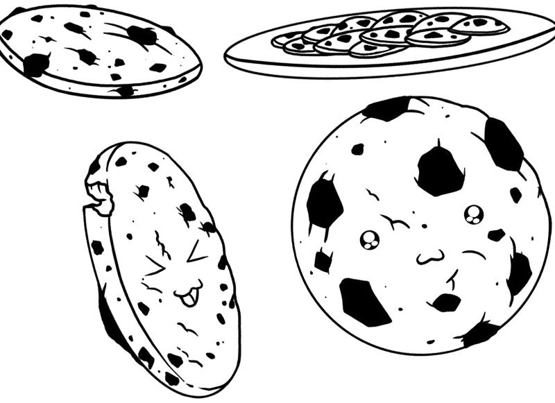 Sweet Chocolate Chip Cookie Coloring Page | Cookie | Pinterest