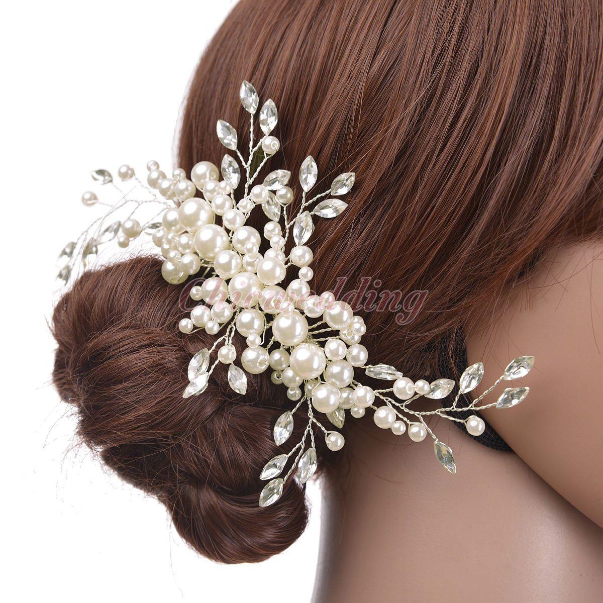 bridal hair comb pearl crystal bridesmaid hair clip wedding