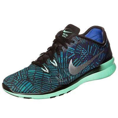 new product 889b3 32c7d Nike Free 5.0 Tr Fit 5 Print Womens 704695-016 Green Glow Training Shoes Sz  7.5