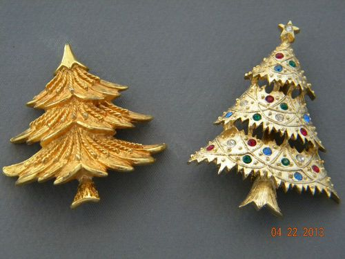 Eisenberg Ice and Corel Christmas Tree Brooch Lot | eBay