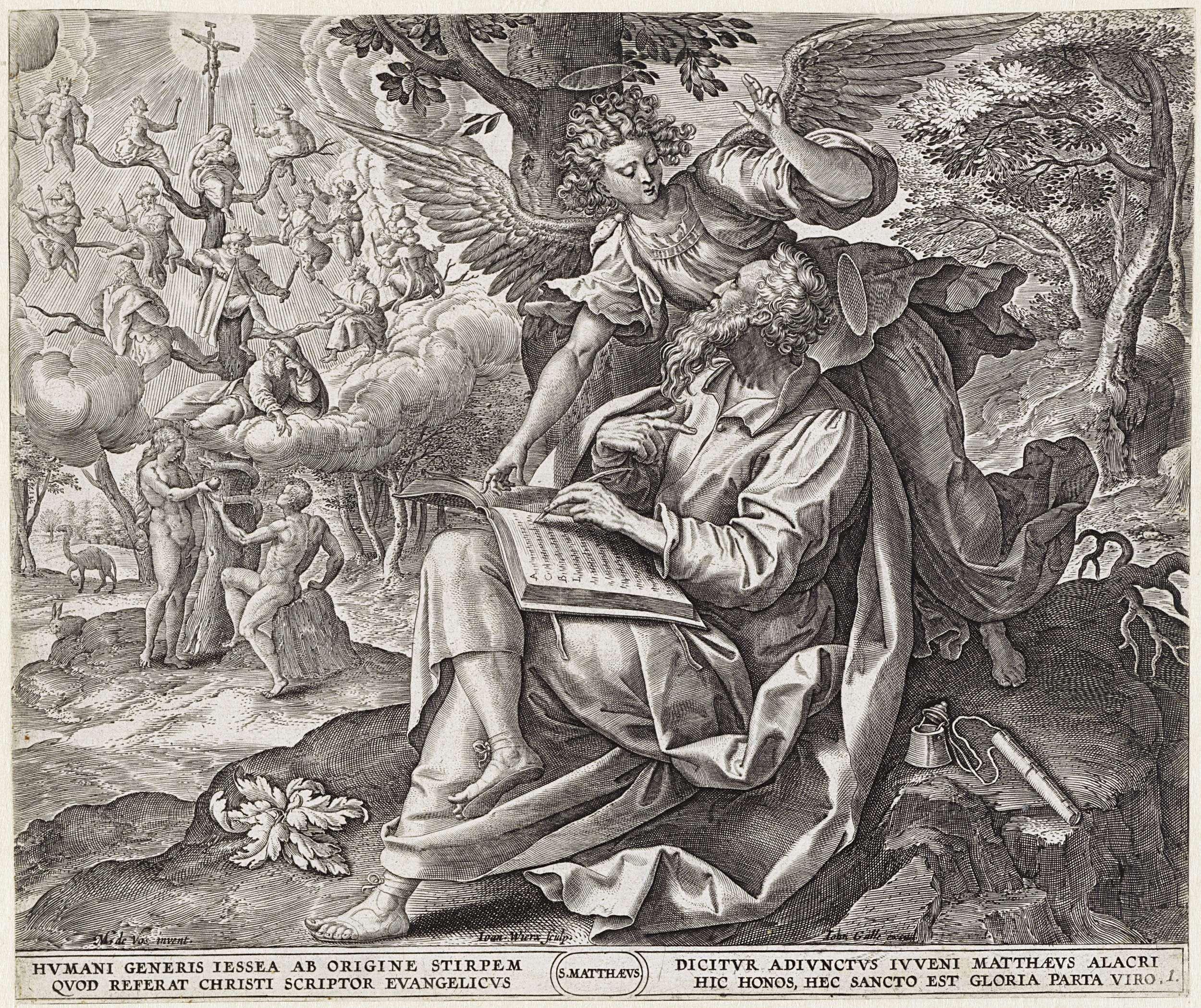 Johannes Wierix   Evangelist Matteüs, Johannes Wierix, Joannes Galle, 1585   De evangelist Matteüs schrijft zijn evangelie. Hij zit onder een boom. De engel staat achter hem. Op de achtergrond Adam en Eva aan de voet van de boom van Jesse. In de marge een vierregelig onderschrift, in twee kolommen, in het Latijn.