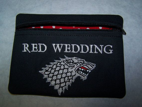 Red Wedding Tampon & Maxi Pad Holder Zippered by WoobiesGifts