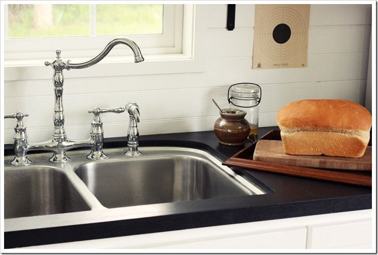 Diy Countertops With Plywood Blackboard Paint And Food Safe Wax Looks Just Like Soapstone Diycountertop Kitchen