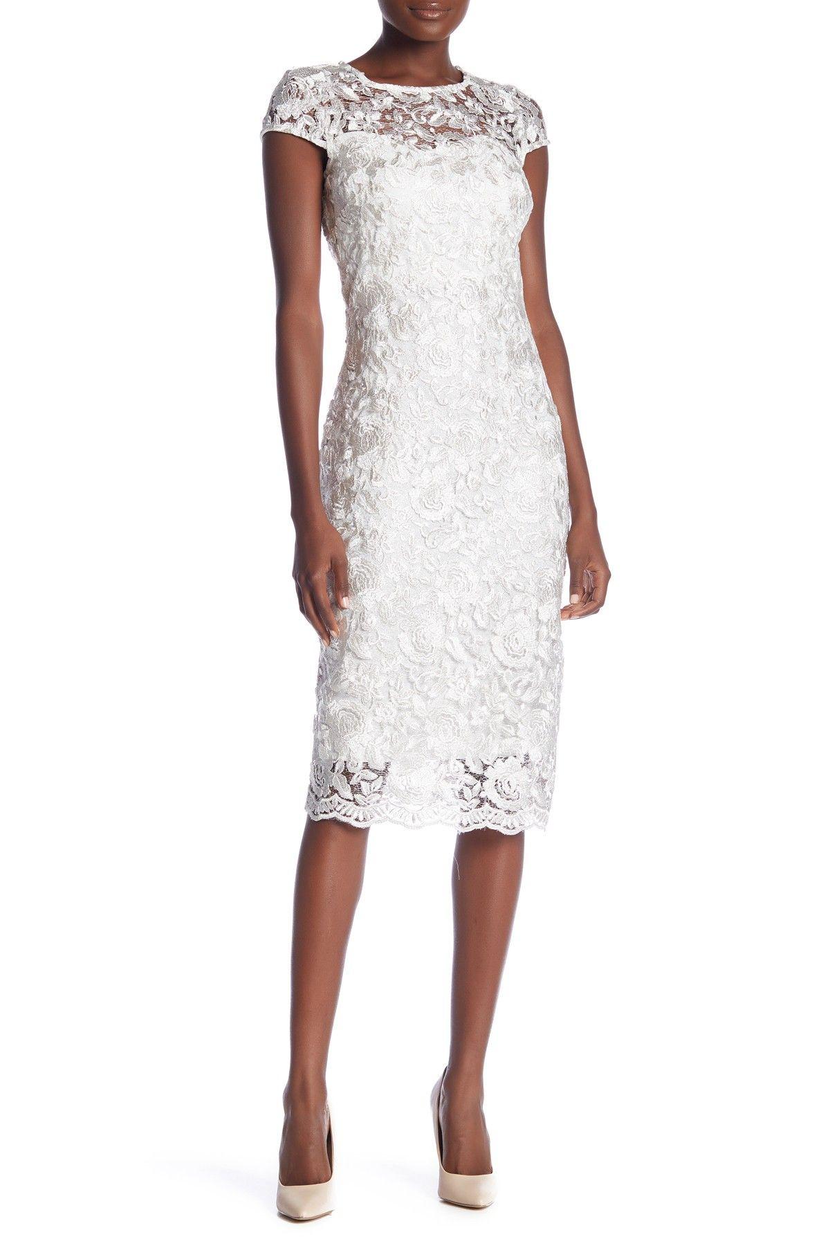 Marina Scalloped Lace Cap Sleeve Sheath Dress Nordstrom Rack Dresses Lace Overlay Dress Nordstrom Dresses [ 1800 x 1200 Pixel ]
