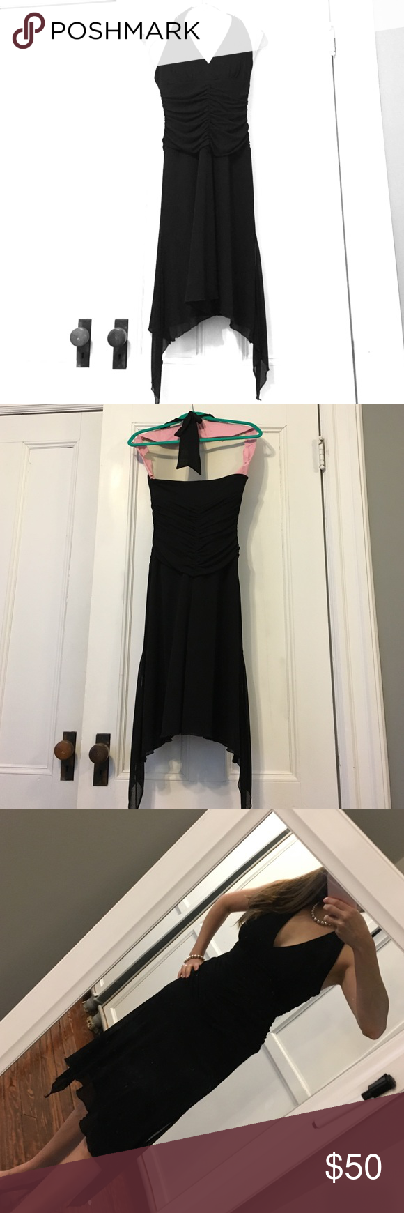 Asymmetrical black formal dress Laundry by Shelli Segal: Classic little black dress w asymmetrical hemline to make it unique!  Adjustable tie back halter top.  Side zip for easy dressing.  Ruching detail at torso is super flattering!  Worn once to a wedding, dry cleaned & never touched again! Everyone needs a little black dress! Perfection ❤ Laundry by Shelli Segal Dresses Asymmetrical